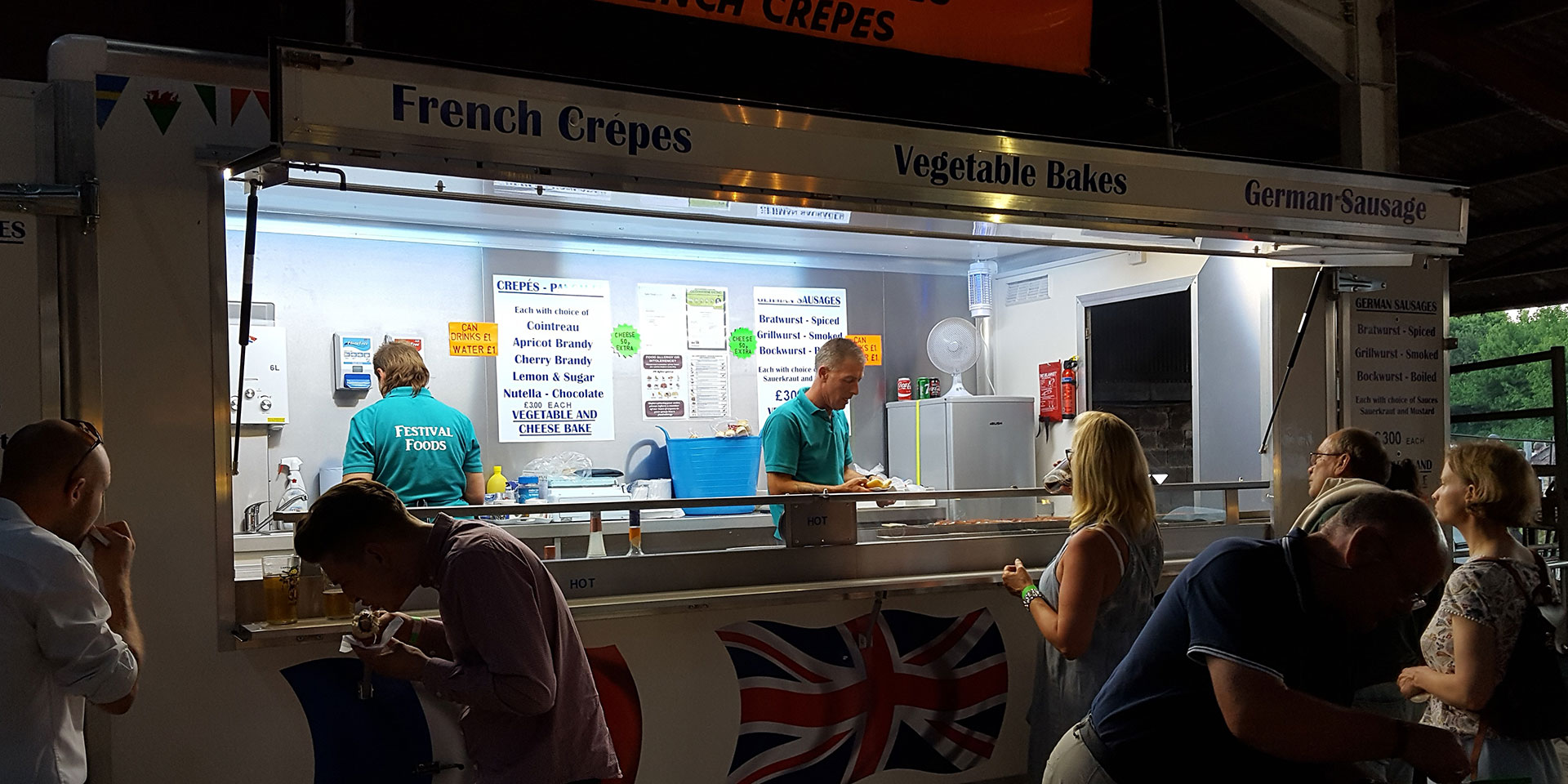 French Crepes and German Sausage Stall at Kent Beer Festival